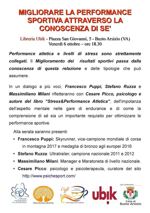 Cesare Picco presenta  Stress & Performance Atletica alla Ubik di Busto Arsizio